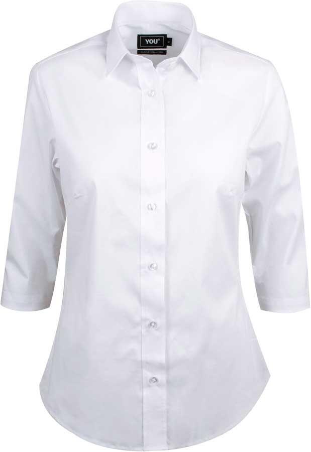 c064d2b2 Hvid stretchskjorte til kvinder med 3/4 ærmer - YOU (ANDRIA)