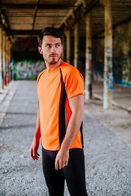 Neon gul/sort sport T-shirt m.  Pro-Dry - YOU