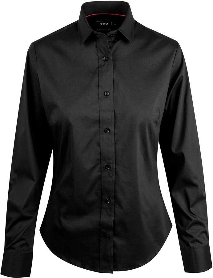 adeecc71 Sort stretchskjorte til kvinder med lange ærmer - YOU (ANDRIA)